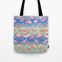 flamingos Tote Bags featuring Flamingos  by Ninola