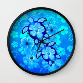 Blue Tropical Flowers And Honu Turtles Wall Clock