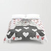 valentine Duvet Covers featuring Valentine by Sara Elan Donati