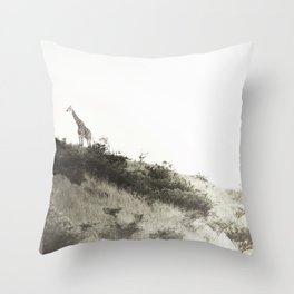 africa is a feeling - giraffe on the hill Throw Pillow