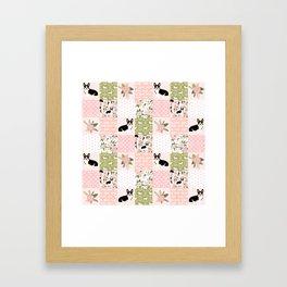 Tricolored Corgi Patchwork - feminine floral, florals corgis, dog lover, dog design, cute dogs Framed Art Print