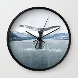 Whale In A French Lake Wall Clock