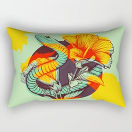 Snake and flowers Rectangular Pillow