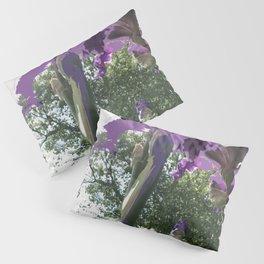 Giant Iris Stalks, purple green white, modified Pillow Sham