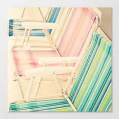 It's Summertime (vintage beach chairs) Canvas Print