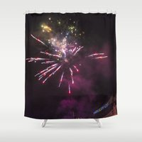 fireworks Shower Curtains featuring Fireworks 6 by Veronika