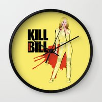 kill bill Wall Clocks featuring Kill Vampire Bill by AriesNamarie