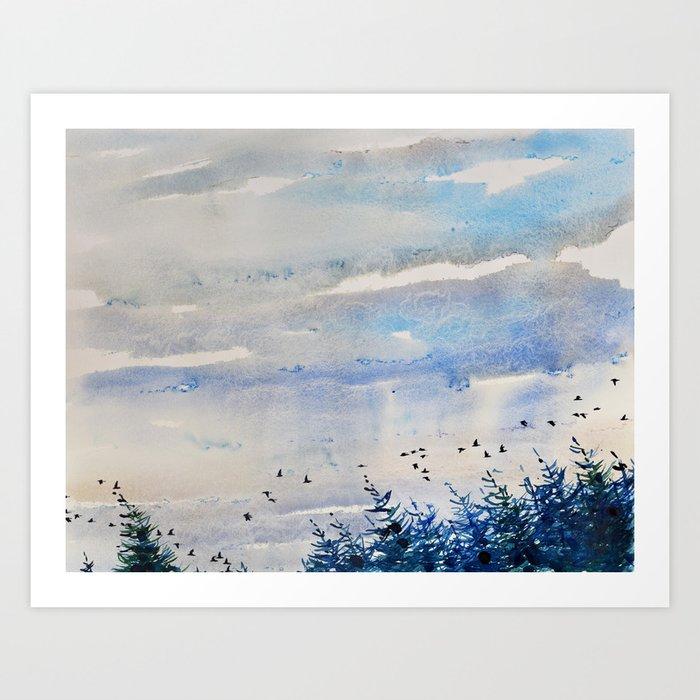 Sunday's Society | Sky landscape watercolor art print