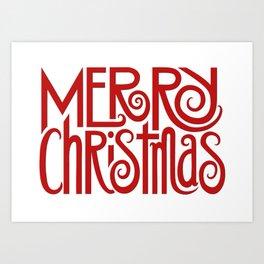 Merry Christmas Text red Art Print