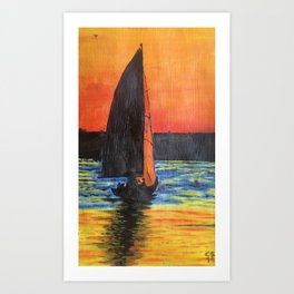 Sailship on the river Tejo in Lisbon Art Print