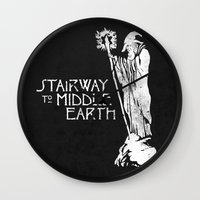 lotr Wall Clocks featuring stairway to middle-earth by jerbing