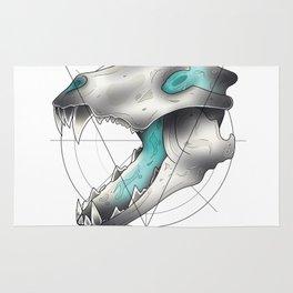Blue Flame Wolf Skull Rug