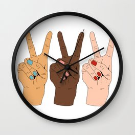 Peace Hands 3 Wall Clock