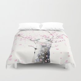 Cherry Blossoms And Birds Duvet Cover