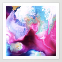 Rainbow Down Abstract Watercolor Painting Art Print