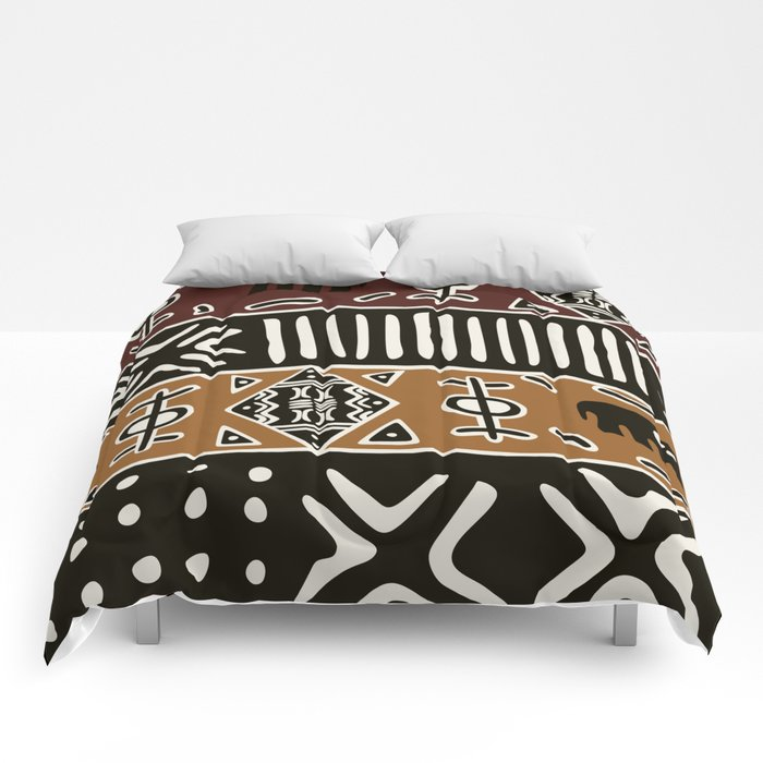 African Mud Cloth With Elephants Comforters by Society6