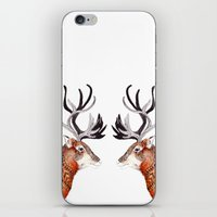 reindeer iPhone & iPod Skins featuring Reindeer  by Michelle Pegrume