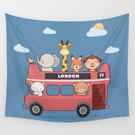 Kawaii Cute Zoo Animals On A London Bus Wall Tapestry