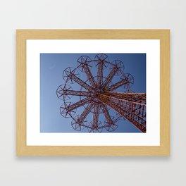 Red Parachute Jump Coney Island Framed Art Print
