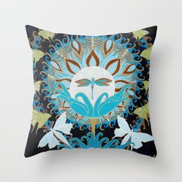 Journey of the Luna Moth Art Nouveau Mandala by Jeanne Fry Throw Pillow