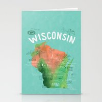 wisconsin Stationery Cards featuring Wisconsin Map by Stephanie Marie Steinhauer