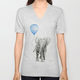 Baby Animal Elephant Watercolor Blue Balloon Baby Boy Nursery Room Decor Unisex V-Neck