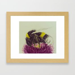 Watercolor Bumble Bee on a Flower Framed Art Print