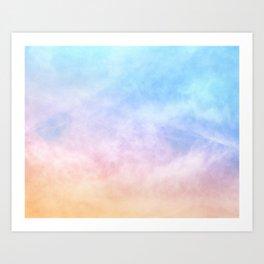 Pastel Rainbow Watercolor Clouds Art Print