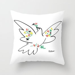 Picasso - Dove of Peace and Flowers Throw Pillow