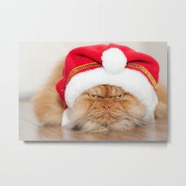 Santa Cat Metal Print