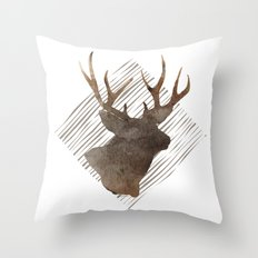 Modern Buck Deer Watercolor Stripes Throw Pillow