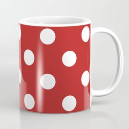 Polka Dots - White on Firebrick Red Coffee Mug