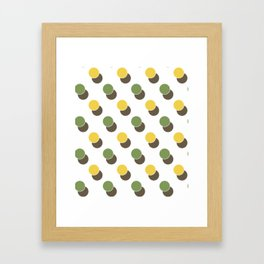 Yellow Green Spot Dot Geometric Print Framed Art Print