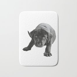 Cute Black  labrador puppy Bath Mat