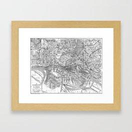 Vintage Map of Hamburg Germany (1910) 2 BW Framed Art Print