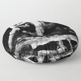 A Stag At Sharkey's - Black and White Lithograph Floor Pillow