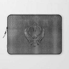 Metallic Embossed Khanda symbol Laptop Sleeve