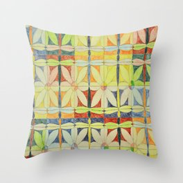 Dragonflies & Flowers Throw Pillow