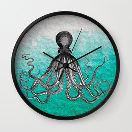 Antique Nautical Steampunk Octopus Vintage Kraken sea monster ombre turquoise blue pastel watercolor Wall Clock