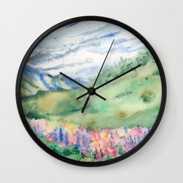 Lupins in the Mountains Wall Clock