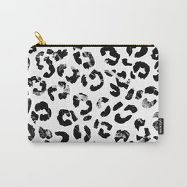 Modern black white marble stylish leopard pattern Carry-All Pouch