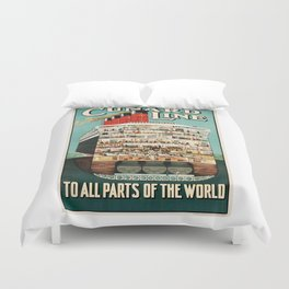 Vintage Cruise Travel Poster Duvet Cover