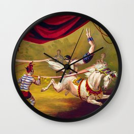 Vintage 19th Century Traveling Circus Arabian Horses Act Poster Wall Clock