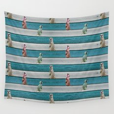 Meercat Beach Stripes Wall Tapestry