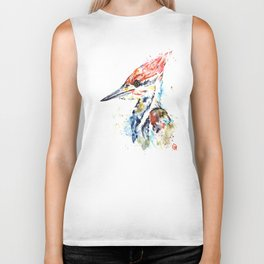 Woodpecker Colorful Watercolor Bird Painting Biker Tank