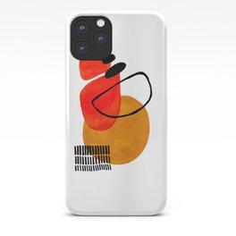 Mid Century Modern Abstract Vintage Pop Art Space Age Pattern Orange Yellow Black Orbit Accent iPhone Case