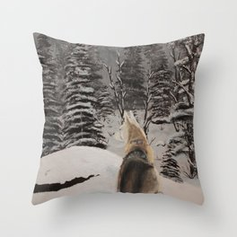 Black Tusk Husky Throw Pillow