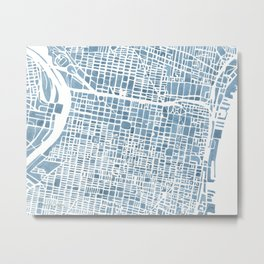 Philadelphia City Map Metal Print