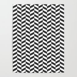 Charcoal Gray Herringbone Pattern Poster