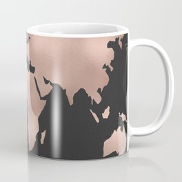 Rose Gold World Map on Dark Gray Coffee Mug